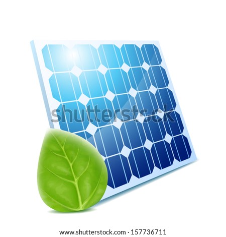 Blue solar panel with green leaf isolated - stock vector