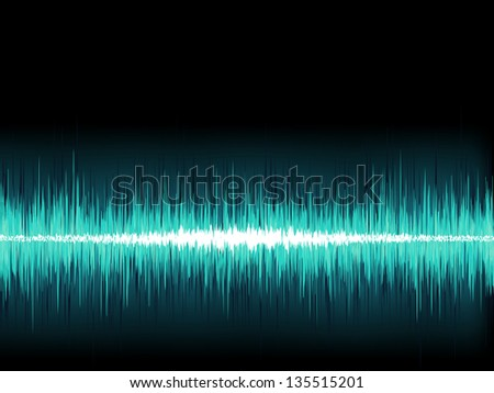Blue sound wave on white background. + EPS8 vector file
