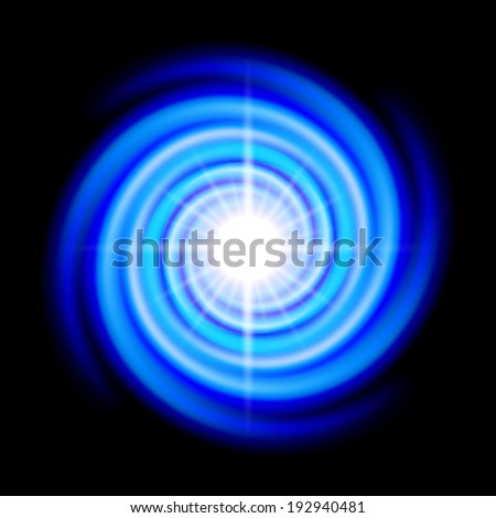 Blue space spiral with bright flare in centre over black - stock vector