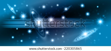 blue sparkling background with stars in the sky and blurry lights, illustration. Abstract, Universe, Galaxies. - stock vector
