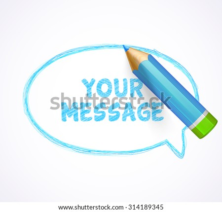 Blue speech bubble drawn with highly detailed blue pencil. Sketch pencil drawing. Hand-drawn pencil banner with place for text. Vector doodles.  - stock vector