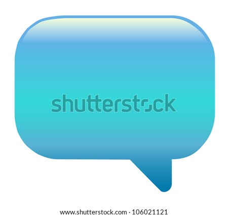 Blue speech bubble on white background - stock vector