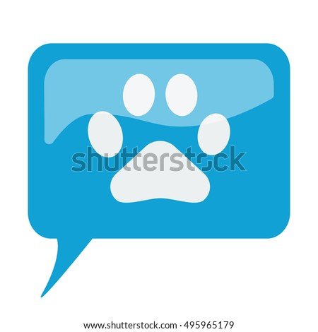Blue speech bubble with white Paw Print icon on white background