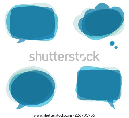 Blue Speech Bubbles - Set of colorful, abstract speech bubbles.   - stock vector