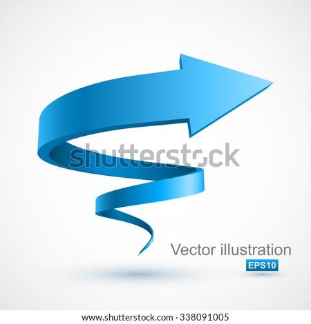 Blue spiral arrow 3D.  - stock vector