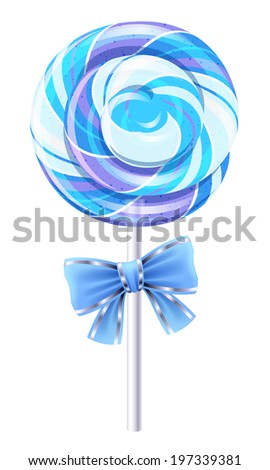 Blue spiral lollipop with a bow. Round candy on stick. - stock vector