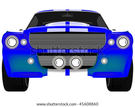 blue sport car front isolated on white, abstract art illustration - stock vector