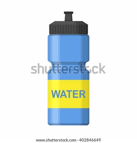 Blue Sport icon bottle for water icon in flat style isolated on white background. Sipper vector - stock vector