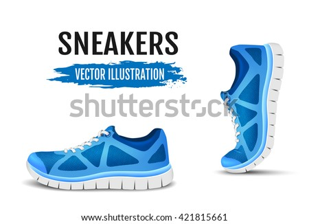 Blue sport shoes for running. Vector illustration - stock vector
