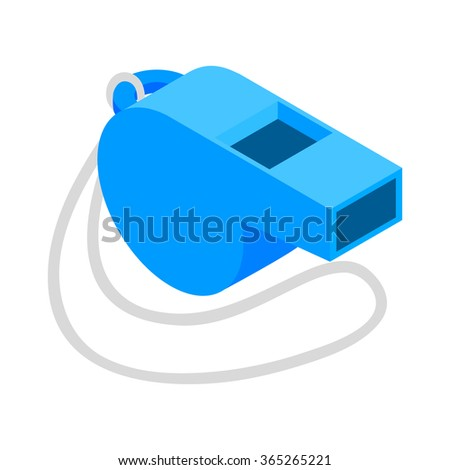 Blue sport whistle on a white cord isometric 3d icon on a white background - stock vector