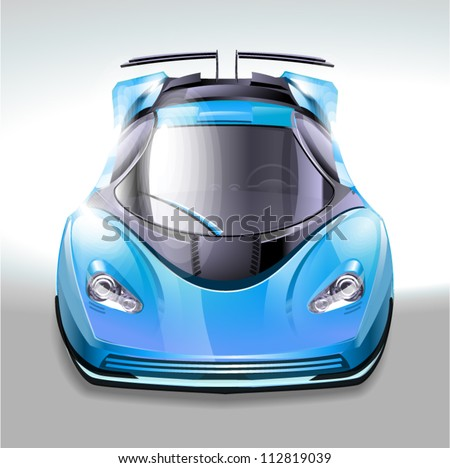 Blue sports car - stock vector