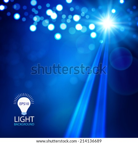 Blue spotlight abstract background. Christmas lights.  Vector illustration - stock vector