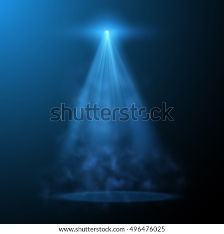 Blue spotlight with fog vector background. Eps10.