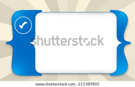 blue square brackets for entering any text with check box - stock vector