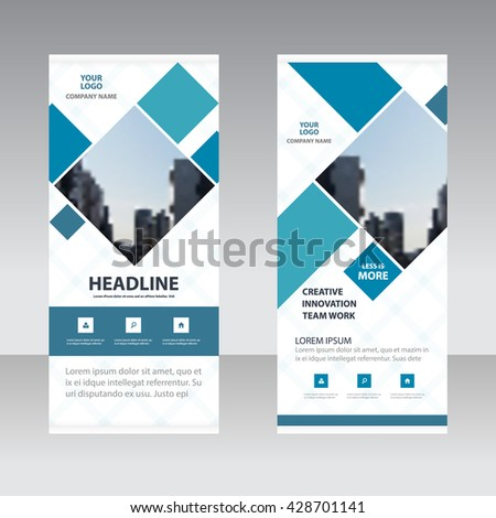 Blue square Business Roll Up Banner flat design template ,Abstract Geometric banner template Vector illustration set, abstract presentation template - stock vector