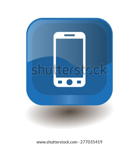 Blue square button with white smartphone sign, vector design for website  - stock vector