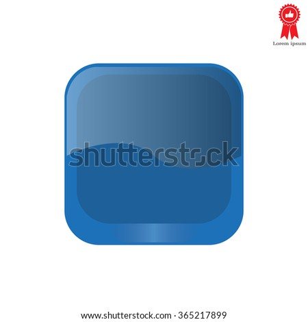 blue square glossy button, vector design for website