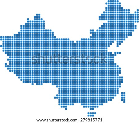 Blue square round edge China map on white background, vector illustration. - stock vector