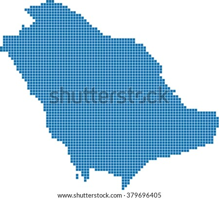 Blue square shape Saudi Arabia on white background. Vector illustration.