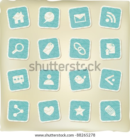 blue square web stickers on crumpled paper grunge effect