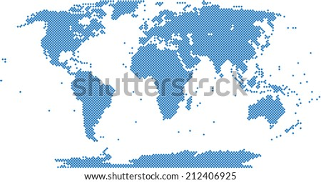 Blue square world map on white background, vector illustration.