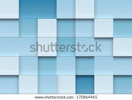 Blue squares abstract background. Realistic wall of cubes. EPS10 vector.