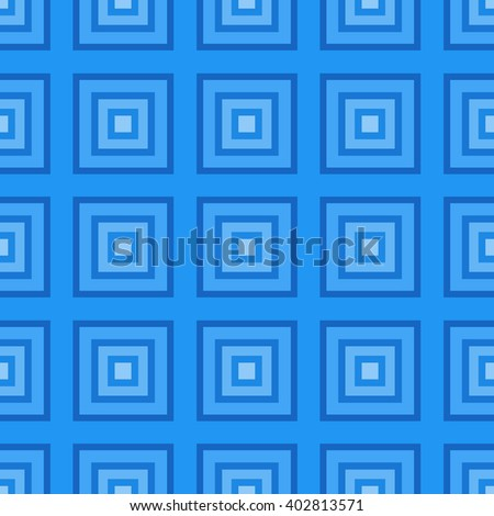 Blue squares abstract seamless pattern. Geometric vector texture. - stock vector