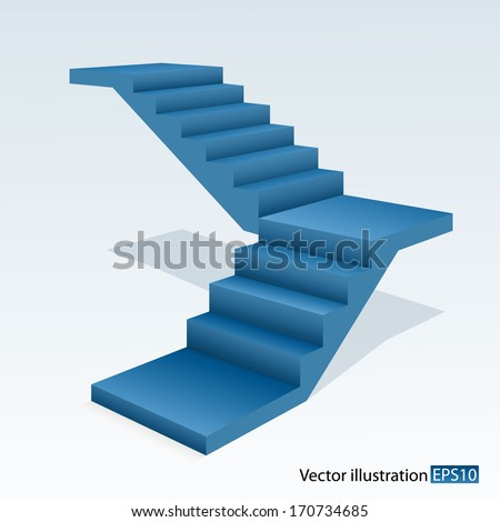 Blue stair - stock vector