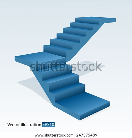 Blue stair. - stock vector