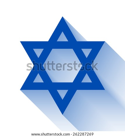 Blue Star of David with long shadow effect on white background - stock vector