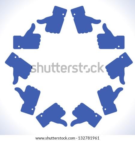 Blue star thumb up icon, vector illustration - stock vector
