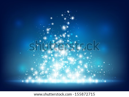Blue starry background with sparkles. - stock vector