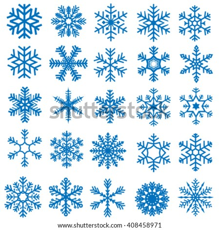 blue stars and flakes on white background, vector