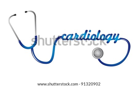 blue stethoscope with cardiology text vector illustration