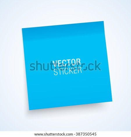 Blue sticky note, isolated on a white background. Realistic mockup. - stock vector