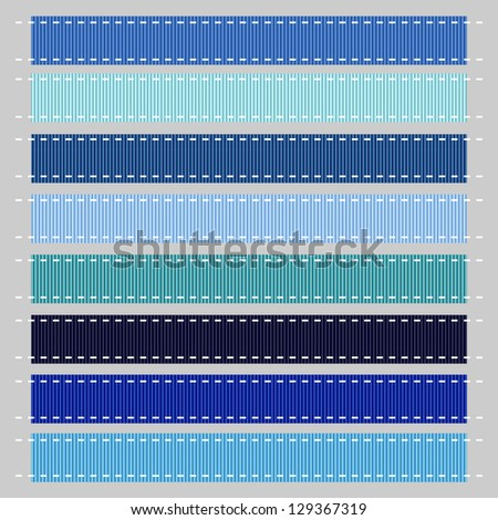 Blue Stitched Grosgrain Ribbon, Vector. Also see other color sets.