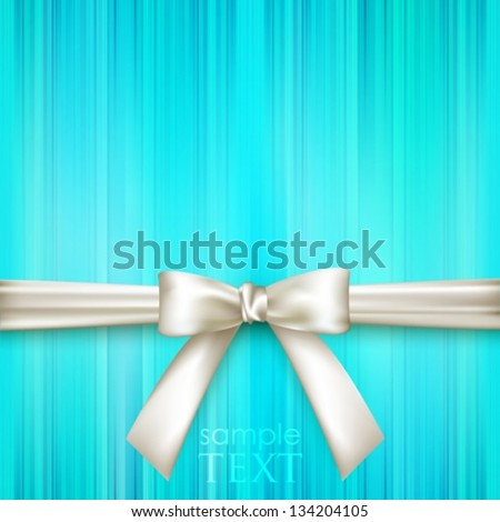 blue striped blue background with white bow - stock vector