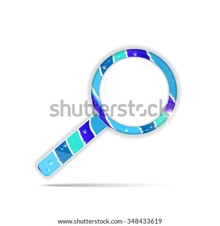 Blue, striped magnifier with water drops, isolated on white background - stock vector