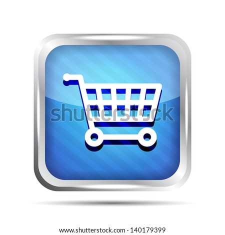 Blue striped shopping cart icon on a white background - stock vector