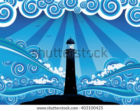 Blue stylized sea with big waves and lighthouse. - stock vector