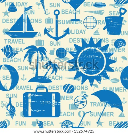 Blue summer and sea themed seamless pattern - stock vector