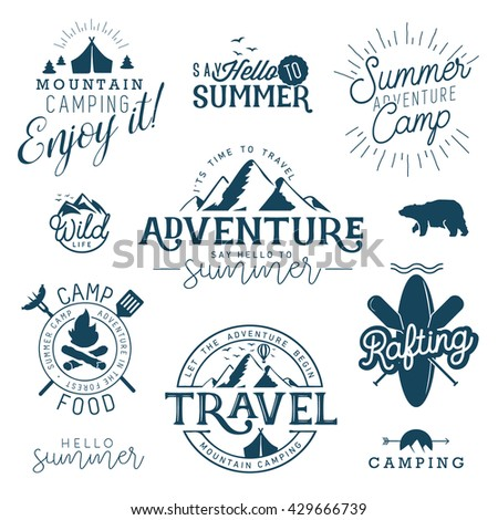 Blue Summer Camp and Travel Vintage Illustrations and Signs - stock vector