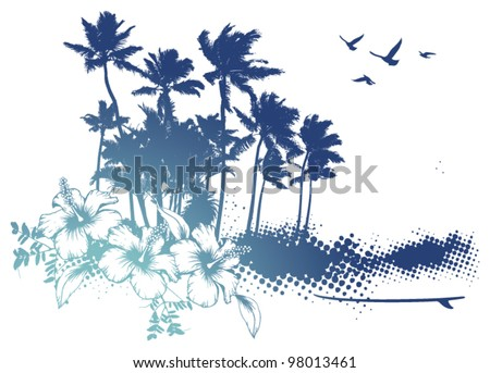 blue summer scene with palms and hibiscus - stock vector