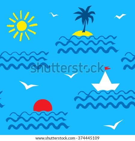 Blue summer seaside vacation seamless pattern with sea, sun, palm tree, yacht and seagulls.