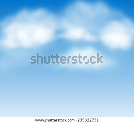 Blue summer sky with white fluffy clouds vector