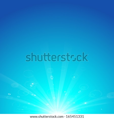 blue sun rays, cool winter background - stock vector