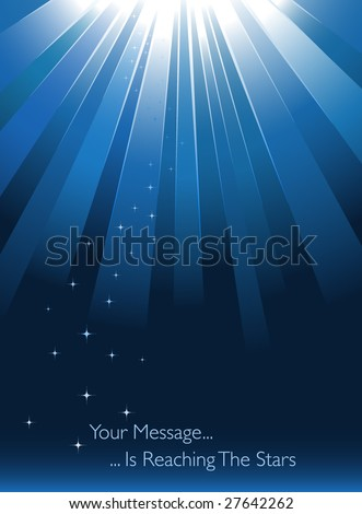 Blue sunburst on blue background with stars - stock vector