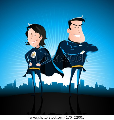 Blue Superhero Man And Woman/ Illustration of a cartoon couple of superhero man and woman standing proudly with star burst shining and cityscape behind - stock vector