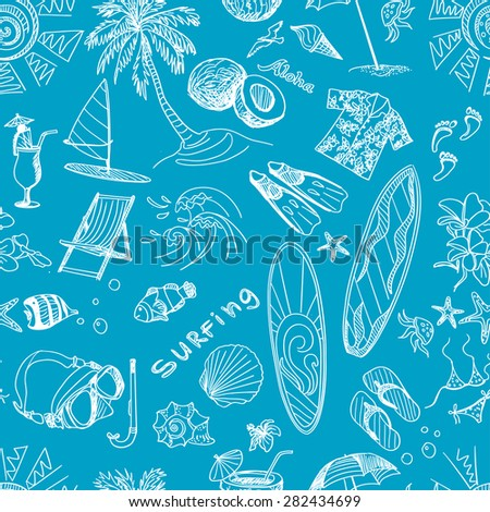 Blue surfing hand draw pattern, excellent vector illustration, EPS 10