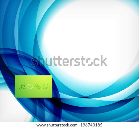 Blue swirl wave abstract vector design template - stock vector
